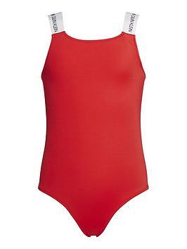 Calvin Klein Calvin Klein Girls Logo Strap Swimsuit - Red Picture