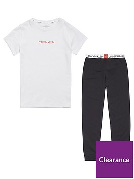 calvin-klein-girls-logo-pyjama-set-blackwhite