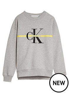 calvin-klein-jeans-girls-monogram-stripe-crew-neck-sweat-top-light-grey