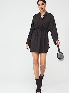 boohoo-boohoo-woven-shirred-waist-shirt-dress-black