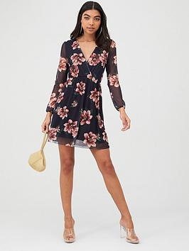 Boohoo Boohoo Boohoo Floral Mesh Sleeve Skater Dress - Black Picture