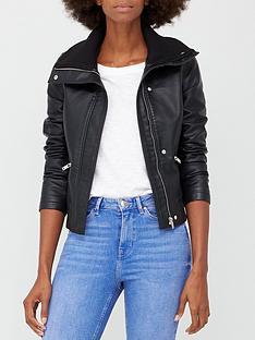 v-by-very-pu-biker-jacket-with-rib-knit-collar-black
