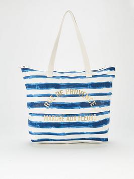V By Very Stripe Canvas Bag - Navy White