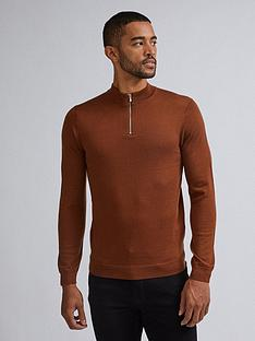 burton-menswear-london-merino-half-zip-neck-jumper-brown