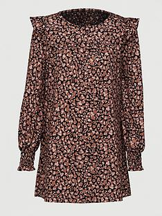 v-by-very-frill-sleeve-tunic-brown-print