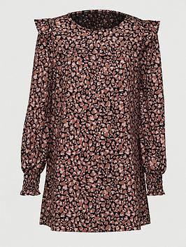 V by Very V By Very Frill Sleeve Tunic - Brown Print Picture
