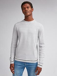 burton-menswear-london-tipped-textured-crew-neck-jumper-grey