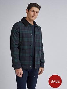 burton-menswear-london-check-faux-borg-collar-jacket-green