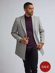 burton-menswear-london-two-button-faux-wool-coat-grey