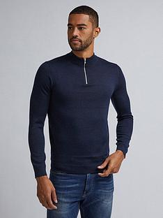 burton-menswear-london-merino-half-zip-neck-jumper-navy