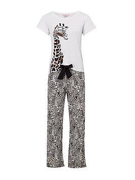 Boux Avenue   Leopard Giraffe Print Jersey Tee And Pant Pj Set - Black Beige