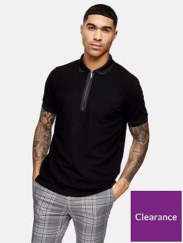topman-short-sleeve-zip-polo-shirt-black