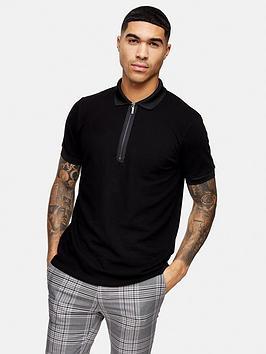Topman Topman Short Sleeve Zip Polo Shirt - Black Picture