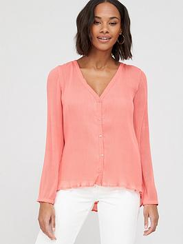 V by Very V By Very Pleated Button Through Blouse - Pink Picture