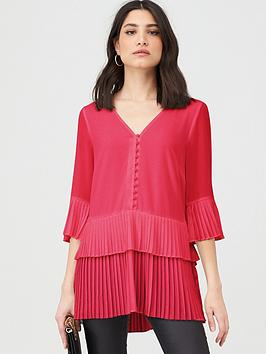 V by Very V By Very Pleated Longline Button Tunic - Pink Picture