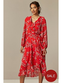 wallis-petite-contrast-floral-midi-dress-red
