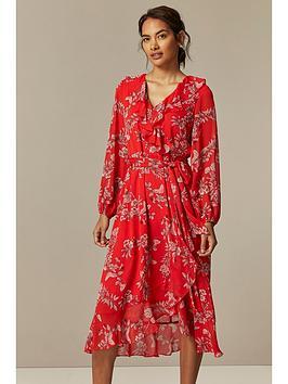 Wallis Wallis Petite Contrast Floral Midi Dress - Red Picture