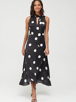 Wallis Wallis Spot Satin Maxi Dress - Black Picture