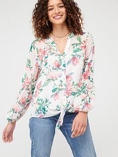 wallis-waterlily-blousonnbspsleeve-blouse-pink