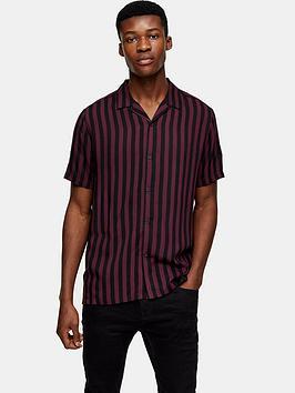 topman-short-sleeve-stripe-shirt-burgundy