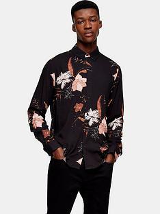topman-long-sleeve-floral-print-shirt-black