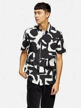 Topman Topman Short Sleeve Abstract Print Shirt - Black/White Picture