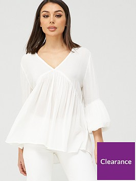 v-by-very-cheesecloth-dip-back-blouse-ivory