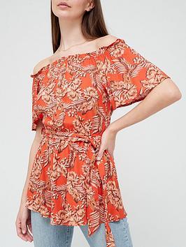 v-by-very-spun-bardot-button-through-blouse-palm-print
