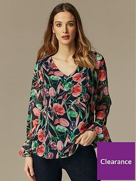 wallis-brushstroke-floral-ruffle-front-blouse-black