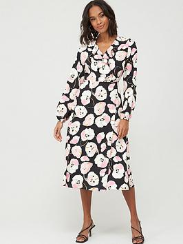 Wallis Wallis Abstract Poppy Puff Sleeve Dress - Black Picture