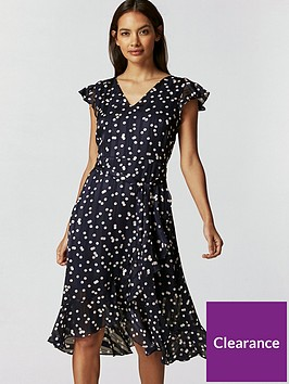 wallis-petite-multi-spot-ruffle-dress-navy