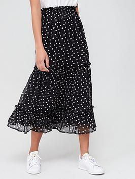 V by Very V By Very Georgette Ruffle Hem Maxi Skirt - Polka Dot Picture