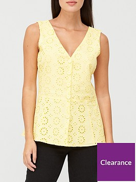 v-by-very-broderie-button-through-vest-yellow