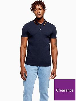 topman-short-sleeve-knit-polo-navy