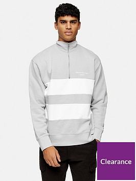 topman-long-sleeve-panel-zip-turtle-neck-top-grey
