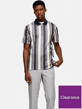 topman-short-sleeve-stripe-polo-navy