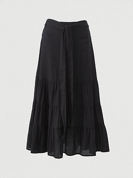 V by Very V By Very Cotton Tie Midi Skirt - Black Picture