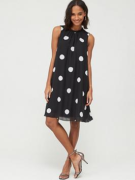 Wallis Wallis Spot Ruffle Neck Swing Dress - Black Picture
