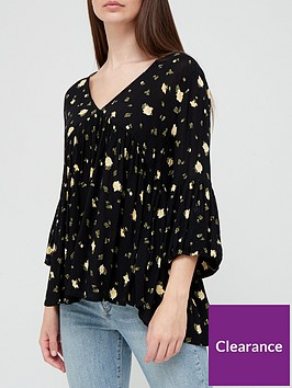 v-by-very-v-neck-oversized-cheesecloth-blouse-blacknbspprint