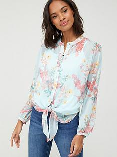 wallis-pretty-poppy-lurex-tie-front-blouse-mint