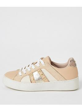 River Island River Island Stud Detail Trainerss - Nude Picture
