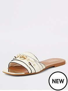 river-island-river-island-snaffle-detail-mule-sandals-cream