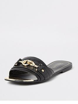 River Island River Island Snaffle Detail Mule Sandals - Black Picture