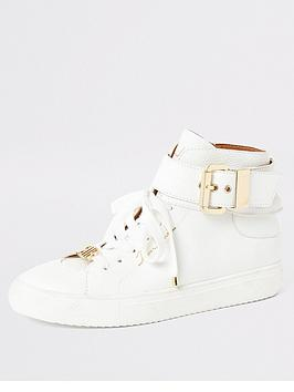 River Island River Island High Top Hardware Detail Trainer - White Picture
