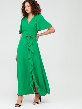 V by Very V By Very Sienna Wrap Frill Maxi Dress - Green Picture