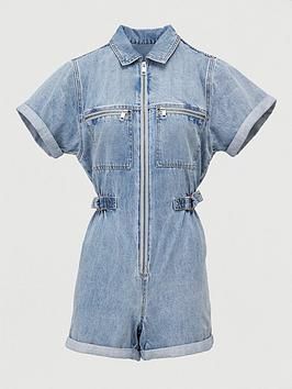 V by Very V By Very Denim Playsuit - Mid Wash Picture