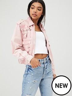 river-island-river-island-multi-pocket-utility-denim-jacket--pink