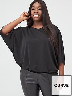 v-by-very-curve-batwing-shirred-hem-jersey-top-black