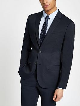 River Island River Island Textured Slim Fit Suit - Navy Picture
