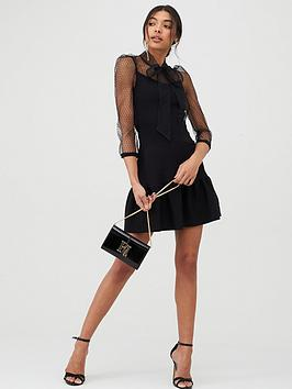 River Island River Island Pussy Bow Puff Sleeve Knitted Dress - Black Picture